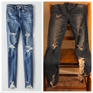 AE High Rise distressed Skinny Jean size 2